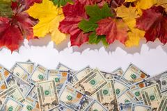 Promotion sale concept background with dollars money and leaves. Promotion sale concept background with dollars money and colorful autumn maple leaves. There is stock images