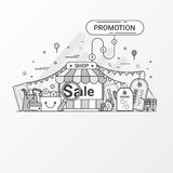 Promotion for sale concept. This set contains icon elements, coupon, discount label, online store, shop, shopping bag, credit card Stock Photography
