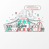 Promotion for sale concept. This set contains icon elements, coupon, discount label, online store, shop, shopping bag, credit card Royalty Free Stock Photography