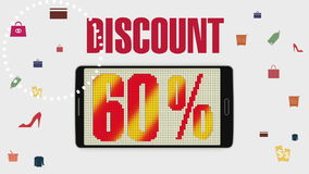 Promotion of Sale, Discount 60%, effective sale alarm. stock footage