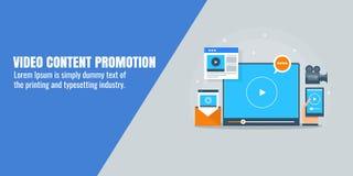 Promotion satisfaite visuelle, vente visuelle, optimisation, media social, concept de seo Bannière plate de conception Photographie stock libre de droits
