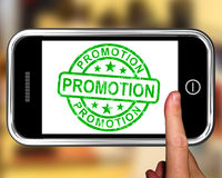 Promotion On Smartphone Shows Special Promotions Stock Photos