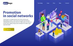 Promotion in social networks. Chatbot, video broadcast, stories, SMM promotion, online analytics. People in social network. 3d puz stock illustration