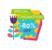 Promotion spéciale 80 outre de label total de la meilleure qualité de vente illustration de vecteur