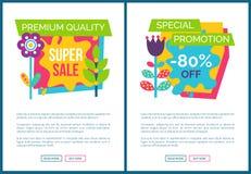 Promotion spéciale réglée 80 de pages d'Internet outre de label illustration de vecteur