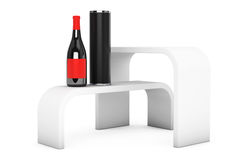Promotion Stand Shelves with Wine Bottle Royalty Free Stock Photo