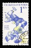 Promotion 35th anniversary of the founding of rugby in Czechoslovakia, Sports 1961 serie, circa 1961. MOSCOW, RUSSIA - AUGUST 18, 2018: A stamp printed in stock image