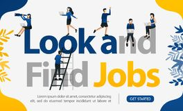 Promotion to find workers. with the words Look and Find Jobs, concept vector ilustration. can use for landing page, template, ui,. Web, mobile, poster, banner royalty free illustration
