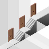 Promotion way with floor levels behind door concept Royalty Free Stock Image