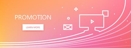 Promotion web banner. Pink and orange colored vector banner with promotion word and promotion channels icon in art ine style Stock Images