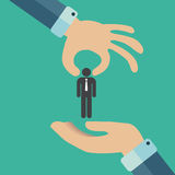 Promotion at work concept. Hand giving a man figure to another hand. Flat vector illustration Royalty Free Stock Photo