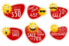 Promotional advertising banners. Vector summer sale labels with smiling sun Stock Photo