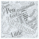 Promotional Advertising Gifts A Smile For Every Present word cloud concept background Stock Photos