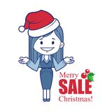 Promotional banner with Christmas character girl. Stock Photos