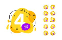 Promotional banner with number of days left sign. Number of days left badges last countdown liquid icon . Day go sale price offer promo deal timer. countdown vector illustration