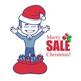 Promotional banner with Santa Claus and Christmas. Banner Merry Christmas sale. Vector illustration Stock Images