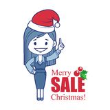 Promotional banner with Santa Claus. Banner Merry Christmas sale. Vector illustration Stock Photos