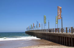 Promotional Banners on Empty Pier in Durban Royalty Free Stock Photo
