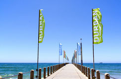 Promotional Banners on Empty Pier on North Beach Stock Photography