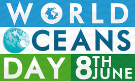 Promotional  Blue and Green Poster for World Oceans Day Celebration, Vector Illustration Stock Images