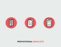 Promotional booklets flat illustration Set of line modern icons. Stock Photography