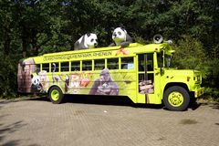 Promotional bus for Dutch zoo Ouwehands Dierenpark. Rhenen, the Netherlands - September 2, 2018: Bus advertising promoting Dutch zoo Ouwehands Dierenpark royalty free stock image