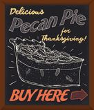 Promotional Chalkboard Promoting Delicious Fresh Pecan Pie for Thanksgiving Day, Vector Illustration. Promotional chalkboard with delicious pecan pie in hand Royalty Free Stock Photos
