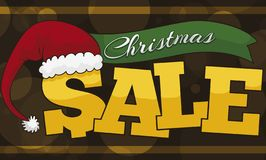 Promotional for Christmas Sales with Santa`s Hat, Ribbon and Glows, Vector Illustration royalty free illustration
