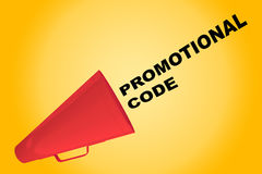 Promotional Code concept. 3D illustration of PROMOTIONAL CODE title flowing from a loudspeaker Stock Photos