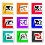 Promotional Colorful Sale Stickers Collection. Scroll Paper. Royalty Free Stock Photos
