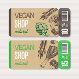 Promotional coupon for sale in organic shop. Stock Photos