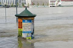 Promotional cylinder under water - extraordinary flood, on Danube in Bratislava Royalty Free Stock Photography