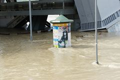 Promotional cylinder under water - extraordinary flood, on Danube in Bratislava Stock Photo