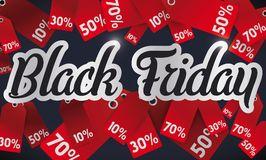 Promotional Design with Discounts Tags for Black Friday, Vector Illustration. Promotional banner with different red discount tags to celebrate Black Friday sales Stock Photo