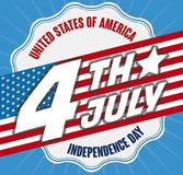 Promotional Design with Reminder Date and Flag for Independence Day, Vector Illustration. Promotional poster in flat style with U.S.A. flag over a white label Stock Photos