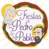 Promotional Design for Saints Peter and Paul Celebration in Spanish, Vector Illustration Stock Photos