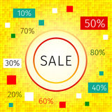 Promotional discount / sale background. Promotional discount background with an inscription sale  and different percentages on a yellow checkered background Stock Photography