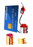 Promotional extra bonus for filling station. Bank credit card with gas pump nozzle and stacks of golden and silver coins with red gift ribbon bows. Promotional royalty free illustration