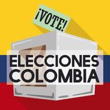 Electoral Card and Box Promoting to Vote in Colombian Elections, Vector Illustration. Promotional in flat style and long shadow for Colombian elections event Royalty Free Stock Images