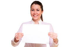Promotional gift card. Woman showing empty blank paper card sign with copy space for text.  model isolated on white background Stock Photos