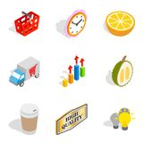 Promotional icons set, isometric style. Promotional icons set. Isometric set of 9 promotional vector icons for web isolated on white background Royalty Free Stock Images