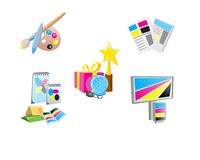 Promotional Items. Icons set of promotional items, vector illustration Stock Photos