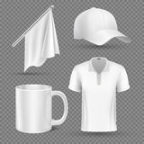 Promotional items, vector set mockup. Promotional accessory group flag cap and cup, illustration promotional corporate t-shirt Royalty Free Stock Photos