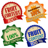 Promotional label, sticker or stamps for one hundred percent fruit content Royalty Free Stock Photography