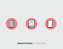 Promotional pamphlets flat illustration Set of line modern icons Stock Images