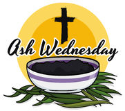 Promotional Poster for Ash Wednesday with Palms, Cross and Bowl, Vector Illustration. Commemorative design in cartoon style for Ash Wednesday with bowl filled Royalty Free Stock Images