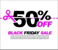 50% OFF Black Friday Sale, Promotional Poster or Sticker Design Vector Illustration. Promotional Poster or Sticker Design Vector Illustration Stock Illustration
