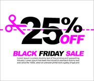25% OFF Black Friday Sale, Promotional Poster or Sticker Design Vector Illustration. Promotional Poster or Sticker Design Vector Illustration Royalty Free Stock Photography