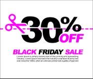 30% OFF Black Friday Sale, Promotional Poster or Sticker Design Vector Illustration. Promotional Poster or Sticker Design Vector Illustration Royalty Free Illustration