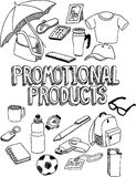 Promotional products doodle. Marker drawing of a set of promotional products Stock Photo